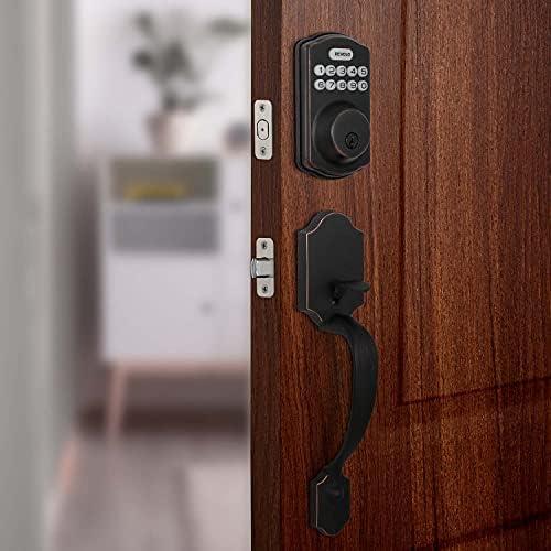REVOLO Electronic Keypad Deadbolt, Keyless Entry Door Lock,Keyed Entry,Auto Lock, Door Lock with Handle, Front Door Handle Sets, Anti-Peeking Password