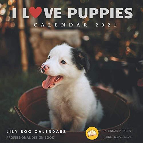 I Love Puppies Calendar 2021: 12 month calendar 2020 - 2021