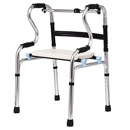 Marco para Caminar con Almohadilla de Soporte para Asiento Aleación de Aluminio Gruesa Rehabilitación Auxiliar Andadores estándar Ayuda para la Vida Diaria Viajes para Personas Mayores discapacitadas