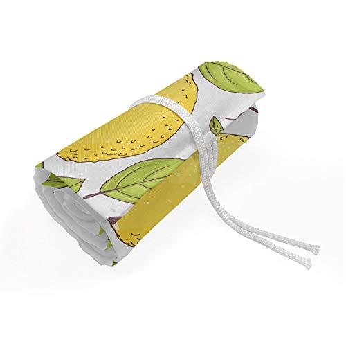 ABAKUHAUS Citroen Etui met Rolomslag voor Pennen, Limonade Fruit Bladeren Doodle, Duurzame & Draagbare Potloodetui, 72 Vakjes, Groen en Mosterd