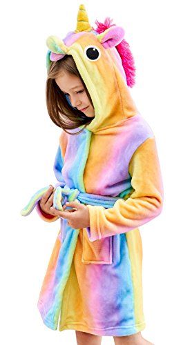 Soft Unicorn Hooded Bathrobe Sleepwear - Unicorn Gifts for Girls (7-9 Years, Rainbow)