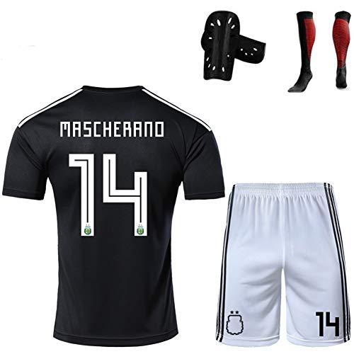 CBVB Fußballuniform, Argentinien Higuaín Dybala Di María Mascherano, Argentinien Fußballtrainingsanzüge, geeignet für Kinder/Jugendliche/Erwachsene-black14-XXL