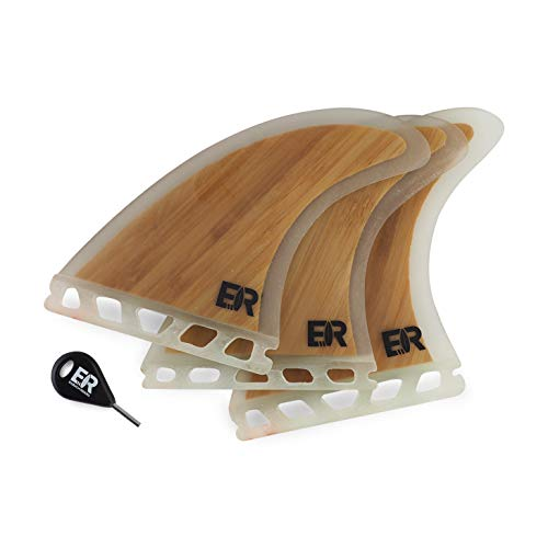 Eisbach Riders Surfboard Future Bamboo Fiberglass Fin Thruster Set mit Fin Key (Größe Medium) - Bambus Finnen Flossen für Surfbrett und SUP (Future)