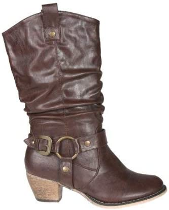 MVE Shoes Womens Stylish Comfortable Closed Toe Cowgirl Mid Calf Boots