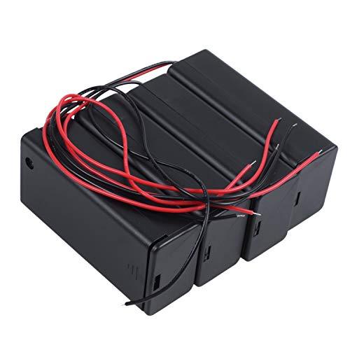 Jaimenalin 4Pzs Interruptor Encendido/Apagado 1 x Soporte de Caja de bateria 9V Plomos Negro con Tapa