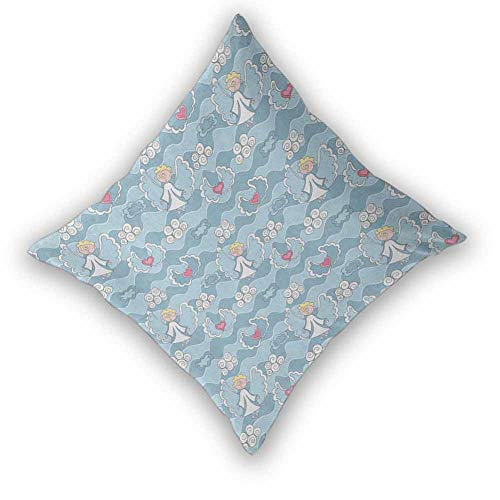 sashimii Angel Pillow Cases, Little Boy Hovering in The Sky Clouds with Hearts Creative Childhood Dreams Modern Design Fashion Patterns for Sofa, Couch, Bed and Car, W22 xL22 Baby Blue White