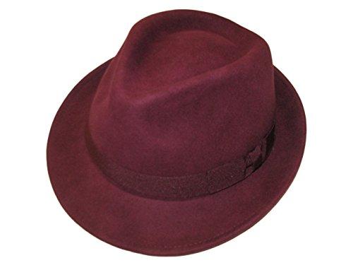 Unisexe Maroon 100% Laine en Feutre Fedora Chapeau avec Bande – 4 Tailles - Rouge - Small