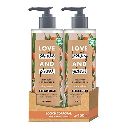Love Beauty and Planet Loción corporal para Piel nutrida y suave, Manteca de Karité y Sándalo Vegano - Pack de 2 x 400 ml (Total: 800 ml)