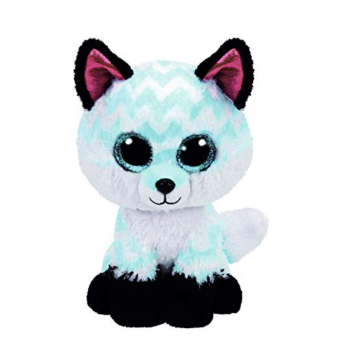 Claire's Official Ty Beanie Boo Piper the Chevron Fox Soft Plush Toy for Girls, Turquoise and White, Small, 6 Inch