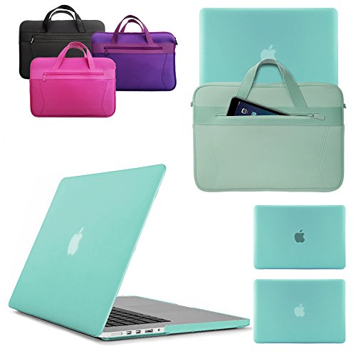 LOVE MY CASE/NEOPRENE BAG BUNDLE EGG BLUE/OCEAN GREEN Hard Shell Case with matching Sleeve Cover 13-inch Apple MacBook Pro without Touch Bar (2016 model) (model number: A1708)