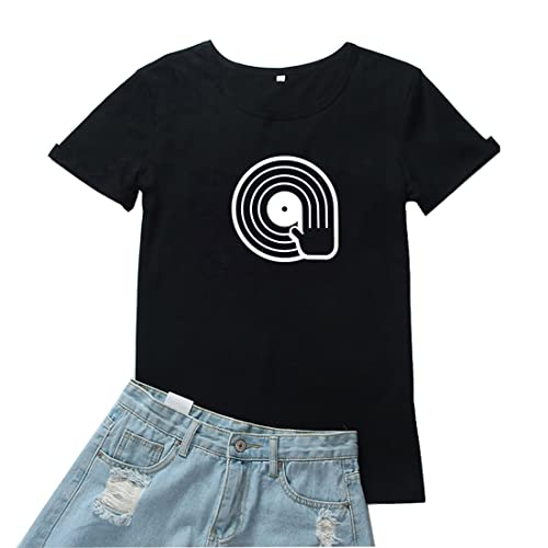 Tianherenjia Spinning Vinyl Record T Shirt Divertido Simple Retro Gráfico Camisa Fresca Vintage Técnicas Diseño Camisa Mujeres, Negro, XL