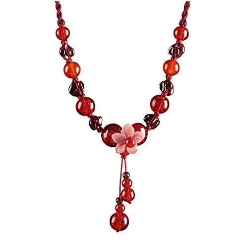kerryshop Collar de Mujer Joyería Pendiente de la ágata roja de la Vendimia del Estilo étnico Colgante Hilo Rojo Granate señoras Collar Circunferencia 17.3 Pulgadas Regalo for la Madre Collar Nuevo
