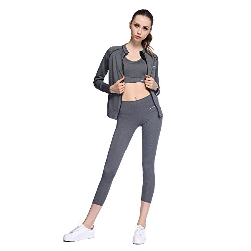 Bonjanvye Yoga Clothes for Women Set Activewear Jacket with Thumb Running Bra and Active Wear Leggings Mesh