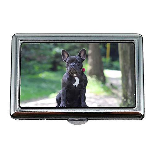 Zigarettenetui/Box, französische Bulldogge Hund Bulldog Tier, Visitenkartenetui Visitenkartenetui Edelstahl