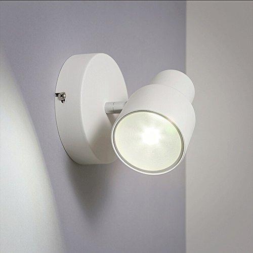 Européenne Noir/Blanc LED Applique Chambre Chevet Lampe Moderne Minimaliste Salon Corridor Allée Fer Forgé Applique Murale tactile Intelligent Commutateur (Color : White)