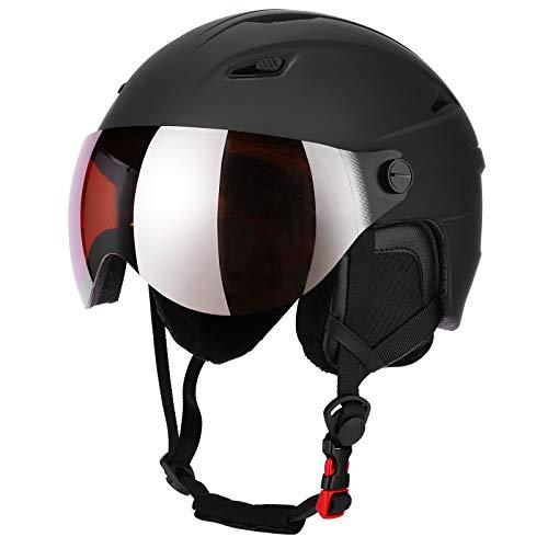 Skihelm Snowboard Helm Unisex Ski Helmet mit Visier Erwachsene Skihelm Herren Damen mit Visor 12 Lüftungsöffnungen CE EN 1077 schwarz L (L(58-63))