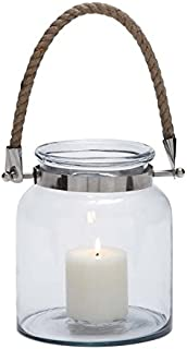 Deco 79 Glass Metal Lantern with Rope, 8 by 10-Inch