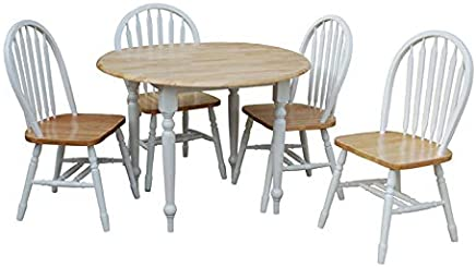 featured product TMS 5 Piece Drop Leaf Dining Set,  White/Natural