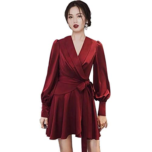 QUNLIANYI Vrouwen V-hals Lantaarn Lang-Sleeved Riem Vintage Jurken Elegant Rood Zwart Satijn Jurk Lente Herfst Casual Party