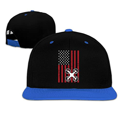 NIUPEE Unisex Bambini Cappello Da Sole Hip Hop Baseball Caps Drone Pilota Bandiera Regolabile Cappello Piatto Bill Baseball Cap