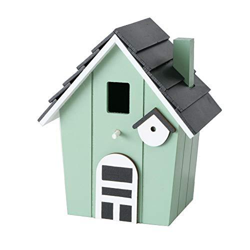 CasaJame Holz Vogelhaus für Balkon und Garten, Nistkasten, Haus für Vögel, Vogelhäuschen, Mint 15,5x12x20,5cm