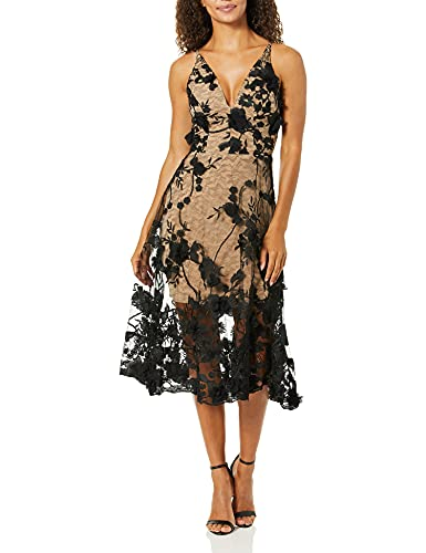 Dress the Population Women's Audrey Spaghetti Strap MIDI A-LINE 3D Floral Dress, Black/Nude, S