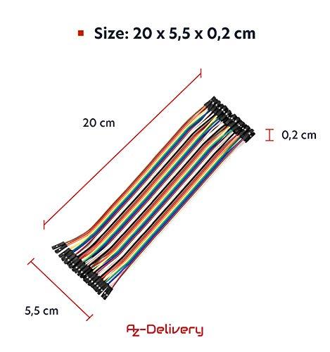 AZDelivery Jumper Wire Kabel 3 x 40 STK. je 20 cm M2M/ F2M / F2F kompatibel mit Arduino und Raspberry Pi Breadboard inklusive E-Book!