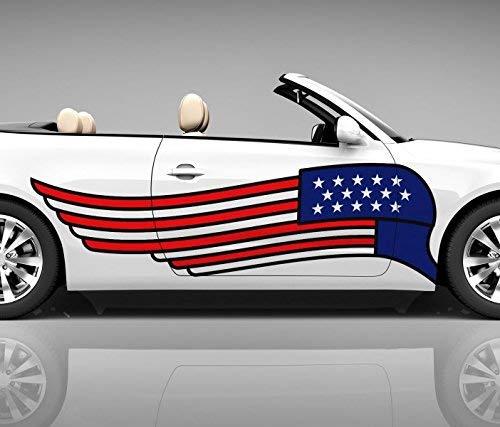 2x Seitendekor 3D Autoaufkleber USA Flagge Flügel Fahne Digitaldruck Seite Auto Tuning bunt Aufkleber Airbrush Racing Autofolie Car Wrapping Tribal Seitentribal CW115, Größe Seiten LxB:ca. 80x20cm