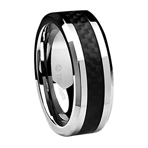 8MM Men's Titanium Ring Wedding Band Black Carbon Fiber Inlay and Beveled Edges [Size 12]