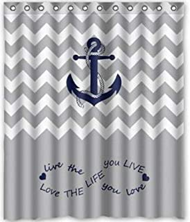 YEHO Art Gallery Infinity Live the Life You Love, Love the Life You Live.Gray and YEHO Art Gallery White Chevron Zig Zag Pattern with Anchor navy Waterproof Bathroom Fabric Shower Curtain 72X84 inches
