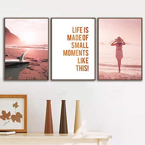 VVSUN Sunset Beach Tabla de Surf Playa de Arena Chica paseando Arte de la Pared Pintura en Lienzo Carteles nórdicos Imagen para la decoración de la Sala de Estar 50X70cm 20x28inchx3 Sin Marco