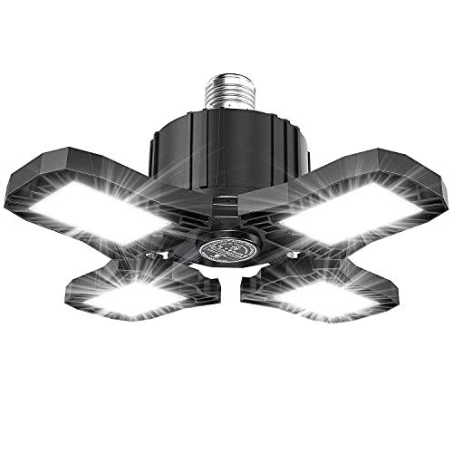 120W Lampada da Garage LED Elekin 12000LM Luce da Garage Plafoniera Led da Garage con 4 Pannelli Regolabili E26/E27, 6000K Lampada da Soffitto Led per Magazzino Cantina Officina Cucina Illuminazione