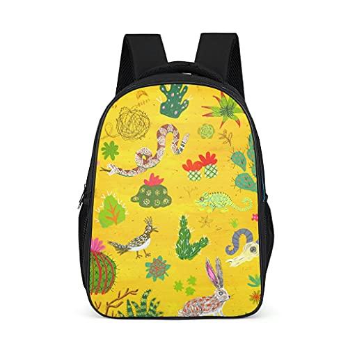 Animal Cactus Snake Rabbit Mochila causal para niños, adolescentes, adultos, libros escolares, regalos para niños y niñas