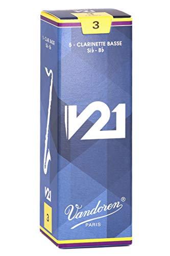 Vandoren CR823 Bass Clarinet V21 Reeds Strength 3, Box of 5