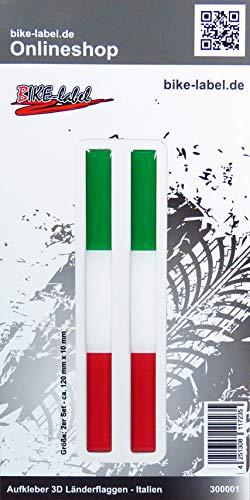 Bike Label 300001 Aufkleber 3D Länder-Flaggen Italien Italy 2 Stck je 120 x 10mm