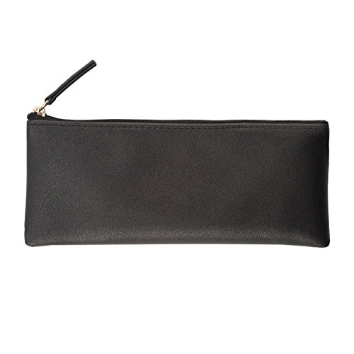 Jingyuu Trousse zippée solide Couleur Make Up Pouch Sac papeterie simple Coque pour cosmétique 8 * 19CM Noir