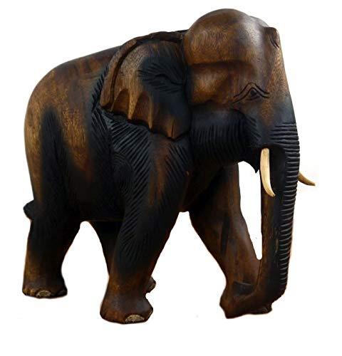 livasia Holzelefant Rüssel unten (Glückselefant), asiatischer Deko Elefant, Tierskulptur (großer Elefant)