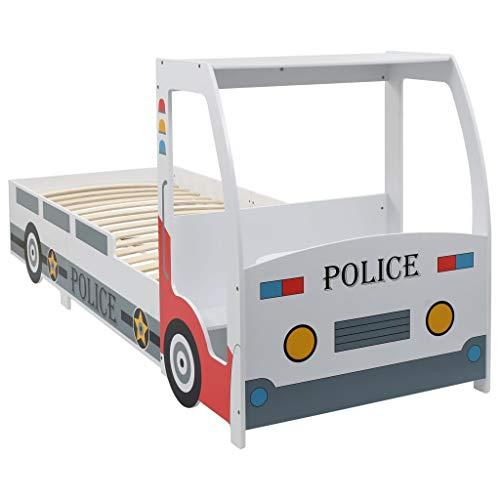 vidaXL Cama Infantil Niños Diseño Coche Policía Somier Láminas Madera Mesa Escritorio Banco Camita Individual Niño Forma Camión Policial 90x200 cm