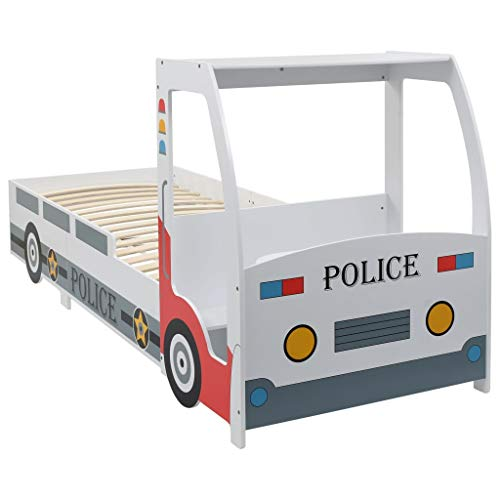 Festnight Kinderbett im Polizeiauto-Design | Autobett mit Schreibtisch | Mehrfarbig MDF-Rahmen und Holz-Lattenrost 90 x 200 cm