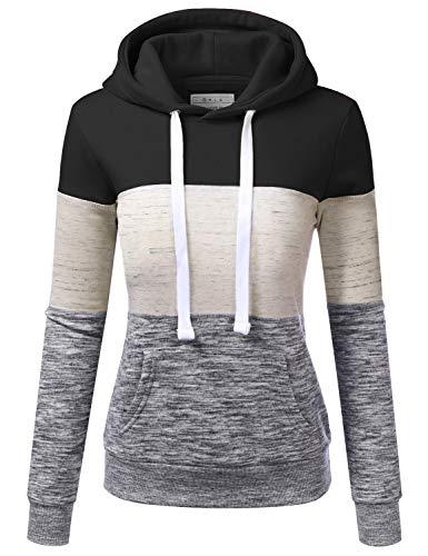 Doublju Basic Lightweight Pullover Hoodie Sweatshirt for Women Black L