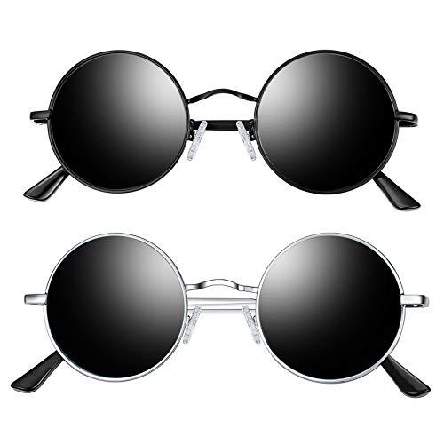 Joopin Lennon Round Sunglasses for Men Women, 2 Pack Small Circle Hippie Sunglasses Polarized (Black+Silver)