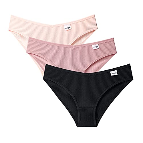 HHWY Calzoncillos de algodón de cintura baja para mujer, paquete de 3 unidades, suaves, transpirables, cómodos, calzoncillos para mujer, Negro , S