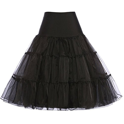 GRACE KARIN Womens Vintage Black Petticoat Knee Length Slip for 50s Dresses M
