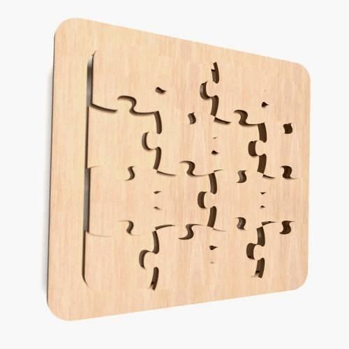 1 x houten puzzel vorm PlainTags blanco decoratie ongeverfde vormen (WX61)