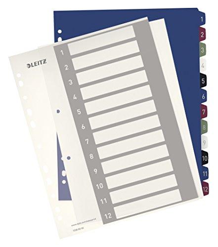 Leitz Register für A4, PC-beschriftbares Deckblatt und 12 Trennblätter, Taben mit Zahlenaufdruck 1-12, Überbreite, Weiß/Mehrfarbig, PP, Style, 12380000