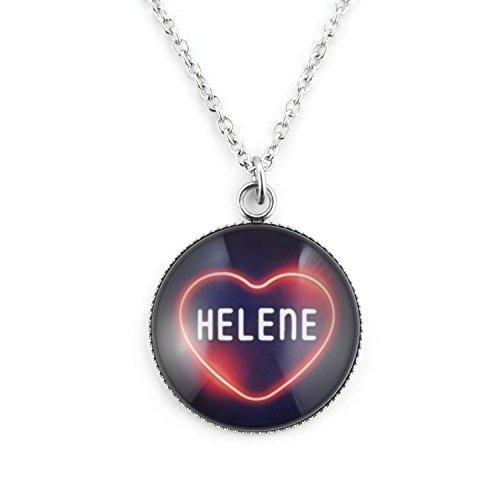 SCHMUCKZUCKER Kette Damen Edelstahl Silber mit Anhänger Motiv -Neon Herz Helene-Dunkelblau - Kreiert in Deutschland Großer Anhänger (25mm) - Kette 45cm