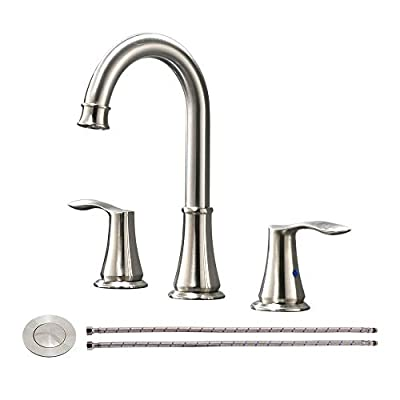 Contemporary 2 Handle Brushed Nickel Lead-free Widespread Bathroom Faucet, Stainless Steel Lavatory Vanity Sink Faucets with Water Hoses & Pop Up Drain for 3 Hole Basin