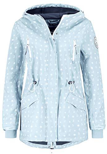 Sublevel Damen Softshell-Jacke Kurzmantel mit Kapuze & Print Light-Blue XL