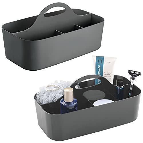 mDesign 2er-Set Duschkorb mit je 6 Fächern – tragbarer Aufbewahrungskorb aus Kunststoff für Badaccessoires – Duschablage für Duschgel, Shampoo, Rasierer und Co. – anthrazitgrau