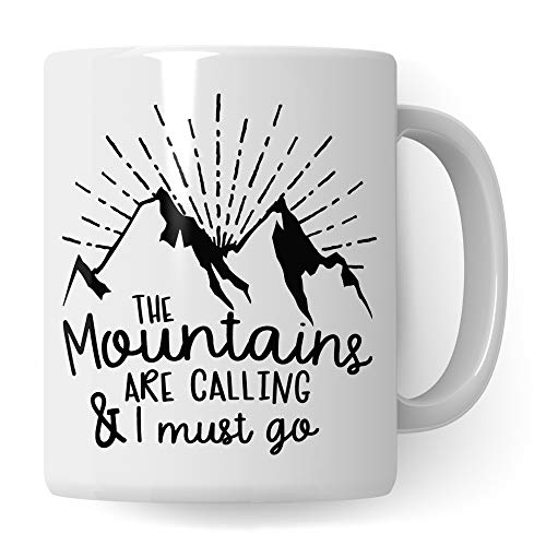 Pagma Druck Tasse Berge, Wandern Geschenk lustig, Kaffeetasse Wanderung Bergsteigen Berggehen Spruch, Mountains Kaffeebecher für Wanderer & Bergsteiger, Berge Gebirge Alpen Becher